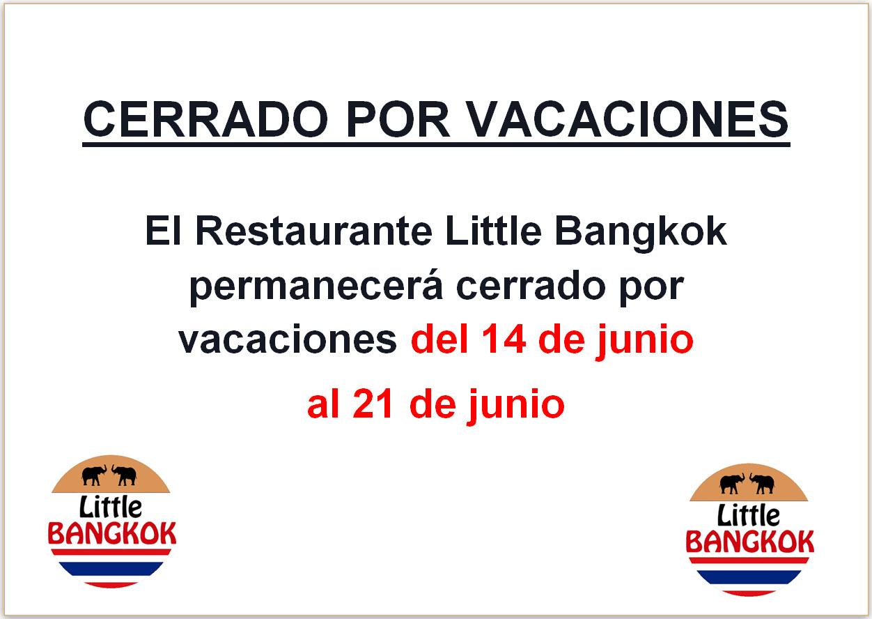 Cerrado por vacaciones - Junio 2021